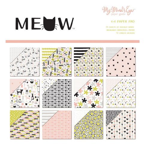 My Minds Eye Paper Pad 6X6 Meow Multi-Coloured