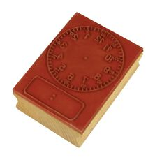 TFC Stamp Clock Digital/Analogue Hours & Minutes Brown
