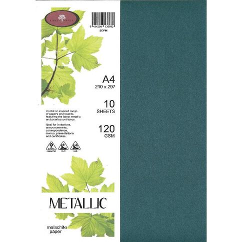 Metallic Paper 120gsm 10 Pack Malachite A4