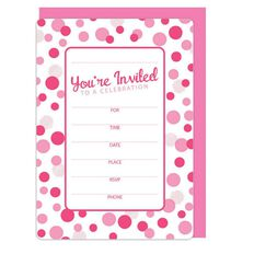 Invitation And Envelope Set Pink Spot Party