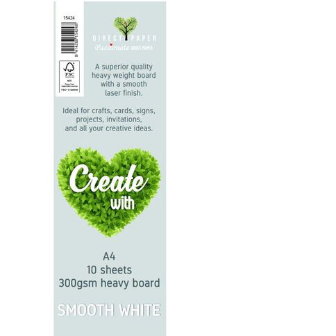 Create With Cardstock 300gsm Smooth 10 Pack White A4