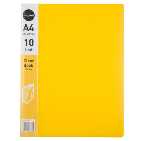 Impact Clear Book 10 Leaf Yellow A4