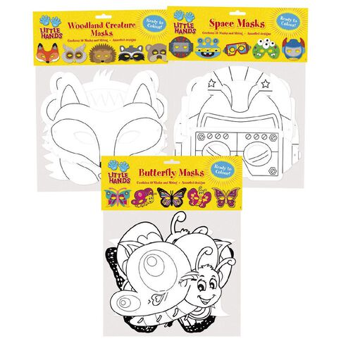 Little Hands Educational Diecut Masks 10 Pack Assorted White