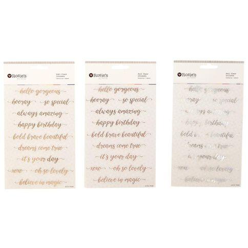Rosie's Studio Foil Clear Stickers Phrases Script Multi-Coloured