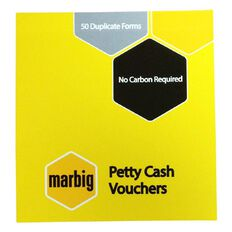 Marbig Petty Cash Vouchers Duplicate 50 Leaf Yellow