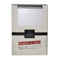 Grace Taylor Cards & Envelopes 15 x 10cm 50 Pack Plain Silver