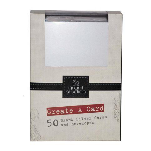 Grace Taylor Cards & Envelopes 15 x 10cm 50 Pack Plain Silver