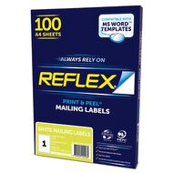 Reflex Mailing Labels 1 Per Sheet 100 Pack White A4
