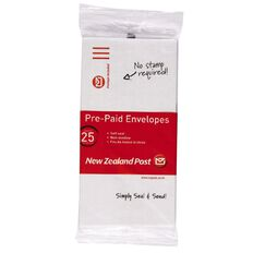 DLE Pack New Zealand Post Envelope Prepaid Non Window 25 Pack White