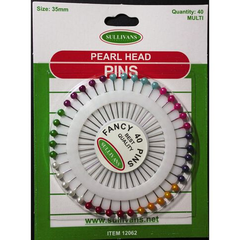 Sullivans Pearl Head Pins 40 Pack Multi