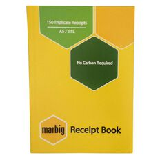 Marbig Receipt Book 3-Up 150R Triplicate Yellow A5