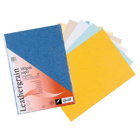 Quill Leathergrain 100gsm 25 Pack White A4
