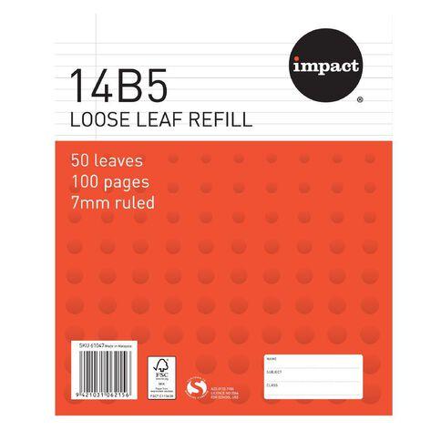 Pad Refill 14B5 7mm Ruled 50 Leaf Red