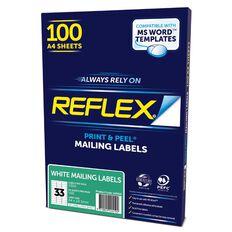 Reflex Mailing Labels 33 Per Sheet 100 Pack White A4