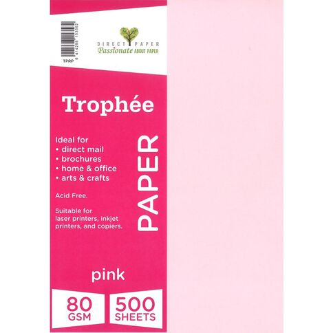Trophee Paper 80gsm 500 Pack Pink A4
