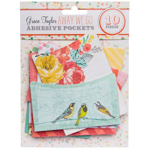 Grace Taylor Away We Go Adhesive Pockets Multi-Coloured