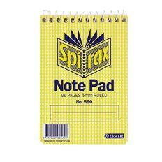 Spirax Notebook Spiral No.560 96pg 5mm Ruled 112 x 77mm Yellow