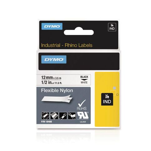 Dymo Industrial Flexible Nylon Labels 12mm Black/White