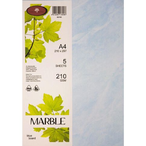 Marble Paper 210gsm 5 Pack Blue A4