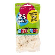 Meteor Balloons Round White 25cm 25 Pack White