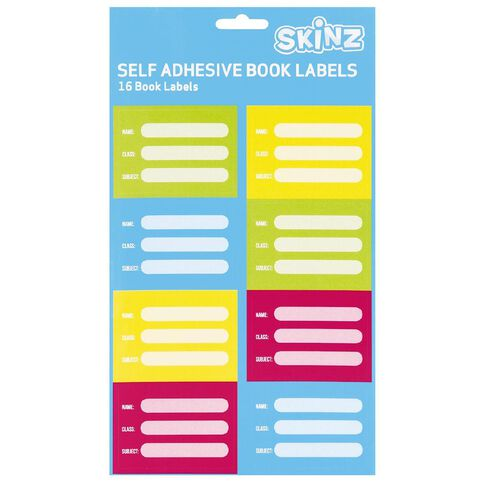 SKINZ Book Labels Neons 16 Pack Multi-Coloured