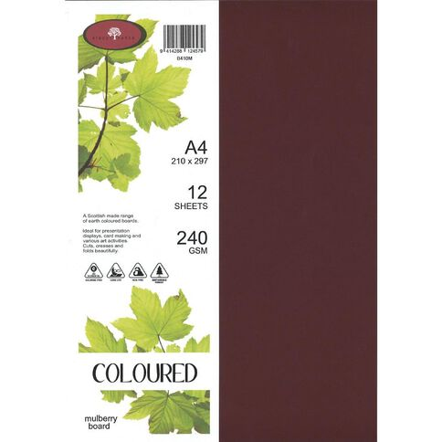 Coloured 240gsm Board 12S Mulberry A4