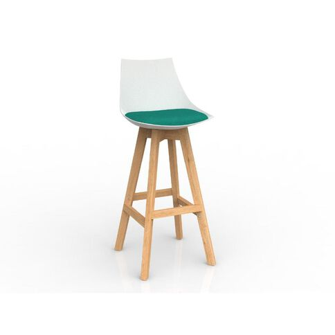 Luna Oak Base Barstool White Emerald Green