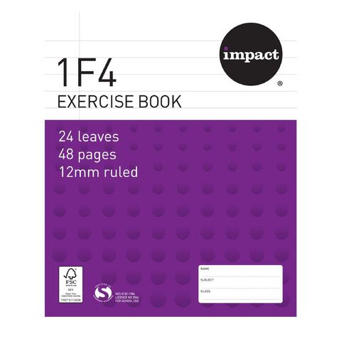 Exercise Book 1F4 12mm 24 Leaf Purple
