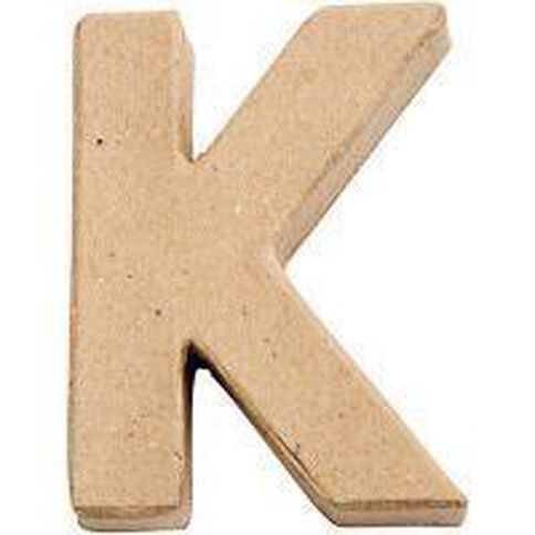 Paper Mache Alphabet Small Symbol K 10cm Brown