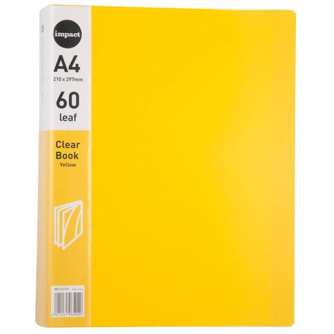 Impact Clear Book 60 Leaf Yellow A4