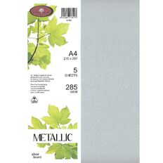 Metallic Board 285gsm 5 Pack Silver A4
