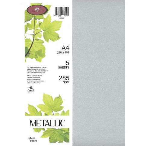 Metallic Board 285gsm 5 Pack Silver A4