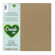 Create With Cardstock 225gsm 12 x 12 Smooth 10 Pack Kraft White
