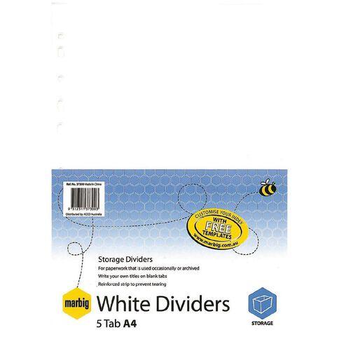 Marbig Dividers Manilla 5 Tab White A4