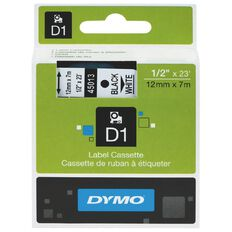 Dymo D1 Label Tape 12mm x 7m Black/White