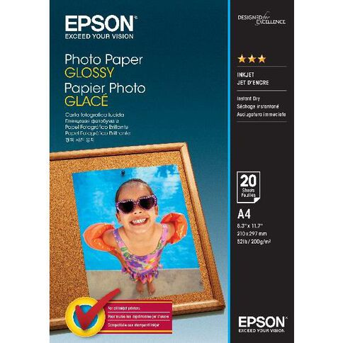 Epson Photo Paper So42538 Glossy 200gsm A4 20 Pack White