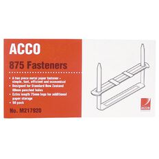 Acco File Fasteners 80mm Prong 2 Pieces 50 Pack Silver