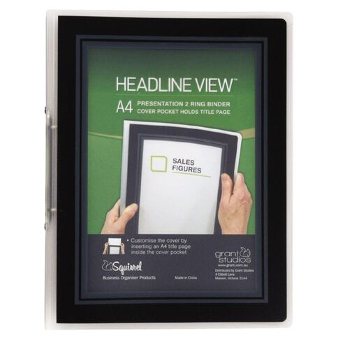 Headline View Ringbinder Overlay Slim 2 Ring Black A4