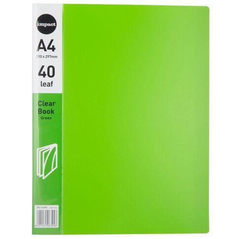 Impact Clear Book 40 Leaf Green A4