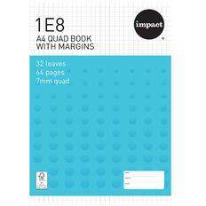 Impact Exercise Book 1E8 7mm Quad 32 Leaf Plus Margin