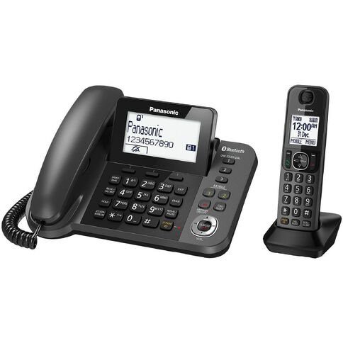 Panasonic Kx-Tgf380Azm Corded And Cordless Phone Black