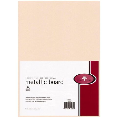 Metallic Board 285gsm 5 Pack Coral A4