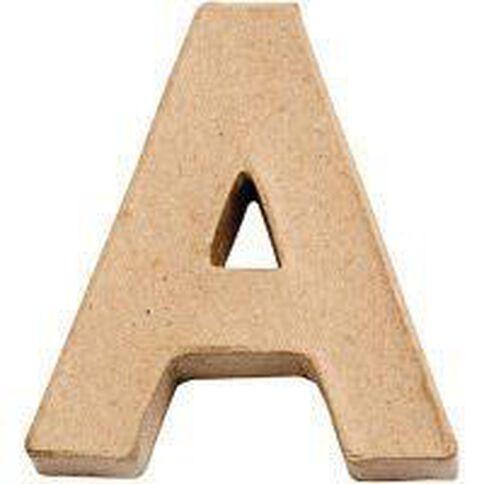Paper Mache Alphabet Small Symbol A 10cm Brown