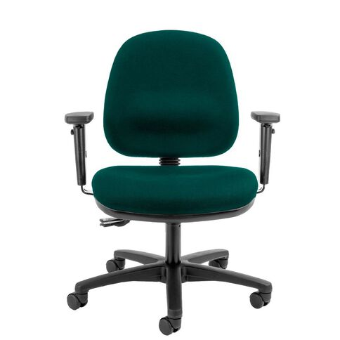 Dawell Aspen Midback Chair With Arms Forest Green