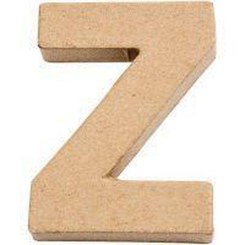 Paper Mache Alphabet Small Symbol Z 10cm Brown