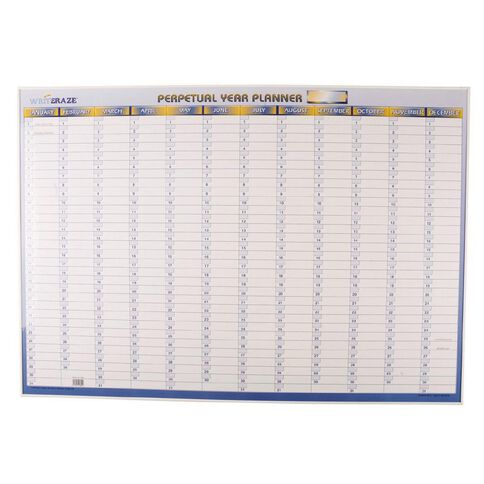 Writeraze Wall Planner Perpetual 1000mm x 700mm Laminated