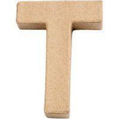 Paper Mache Alphabet Small Symbol T 10cm Brown