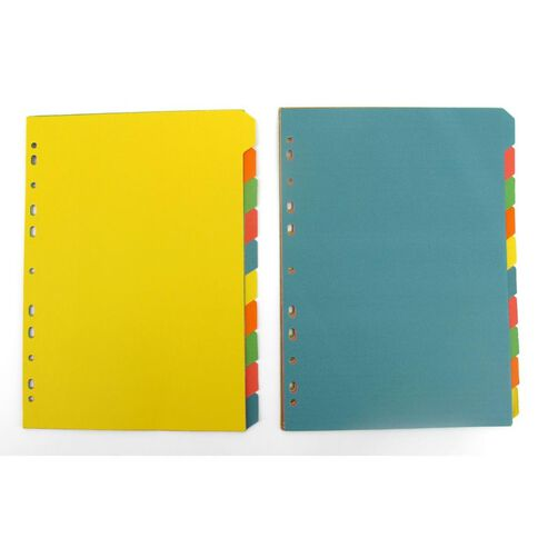 10 Tab Bright 5 Colour Dividers A4