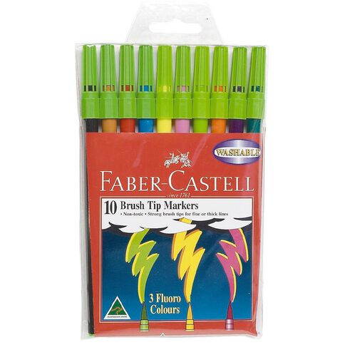 Faber-Castell Felt Pens Brush Brights 10 Pack