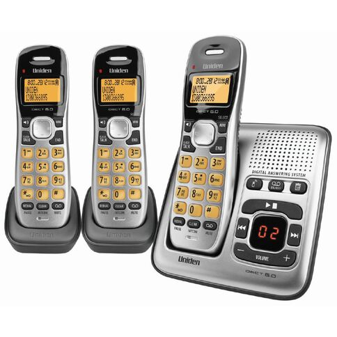 Uniden Dect1735+2 Cordless Phone With Answer Machine Triple Silver